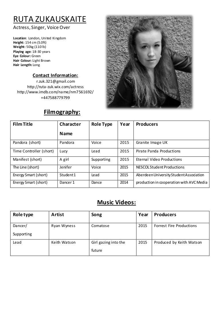 Ruta Zukauskaite Acting Resume