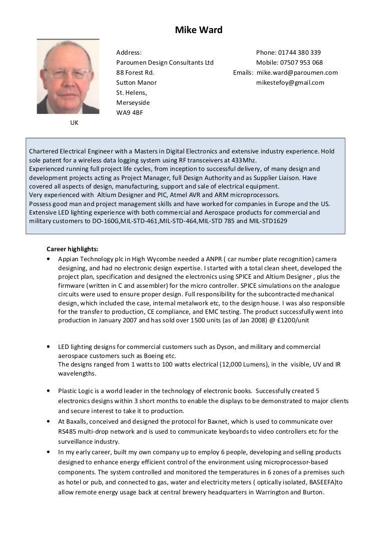 Mike Ward Cv 20161223 Electrical Design Consultancy Commercial Industrial