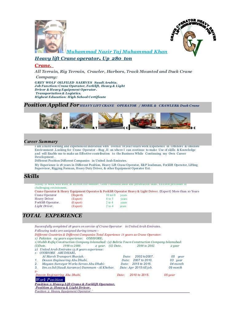 cv muhammad nazir crane operator new cv - Duties Of A Forklift Operator