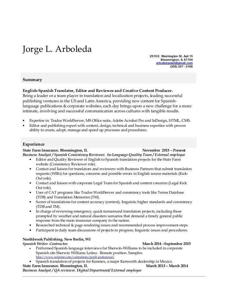 Jorge L Arboleda Resume State Farm