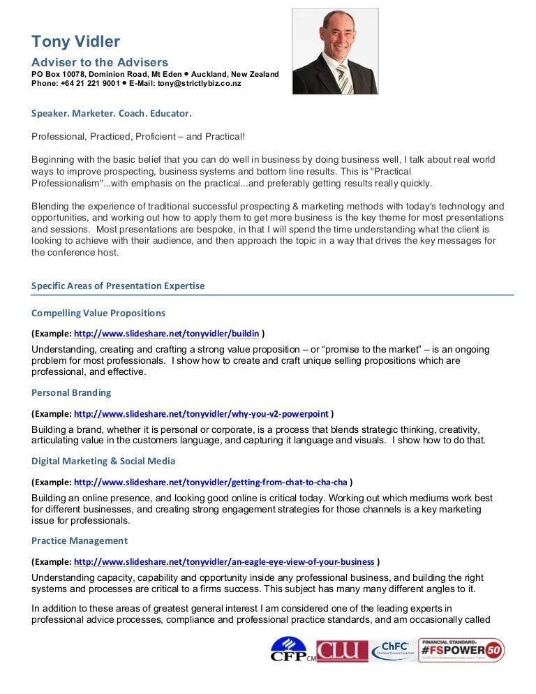 tony vidler speaker resume 2014