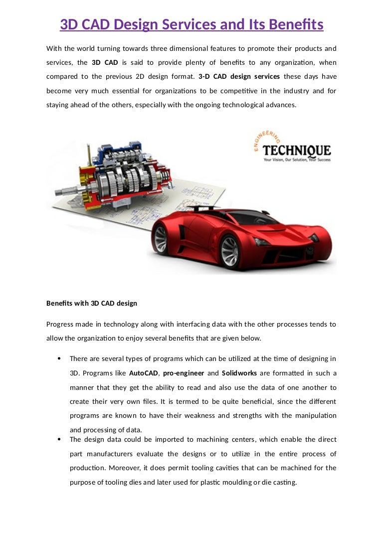 3D CAD Design Services and Its Benefits