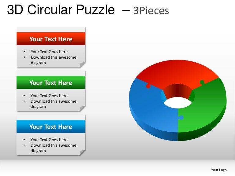 3d circular puzzle 3 pieces powerpoint presentation templates