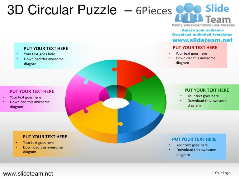 3d Cycle Circular Round Jigsaw Maze Piece Puzzle 6 Pieces Powerpoint