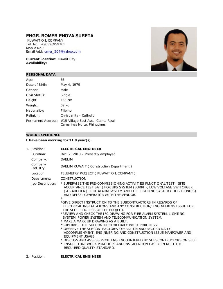 Resume Template Free Download Philippines