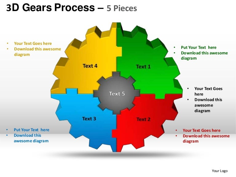 3d Gear Mechanical Process 5 Pieces Powerpoint Templates