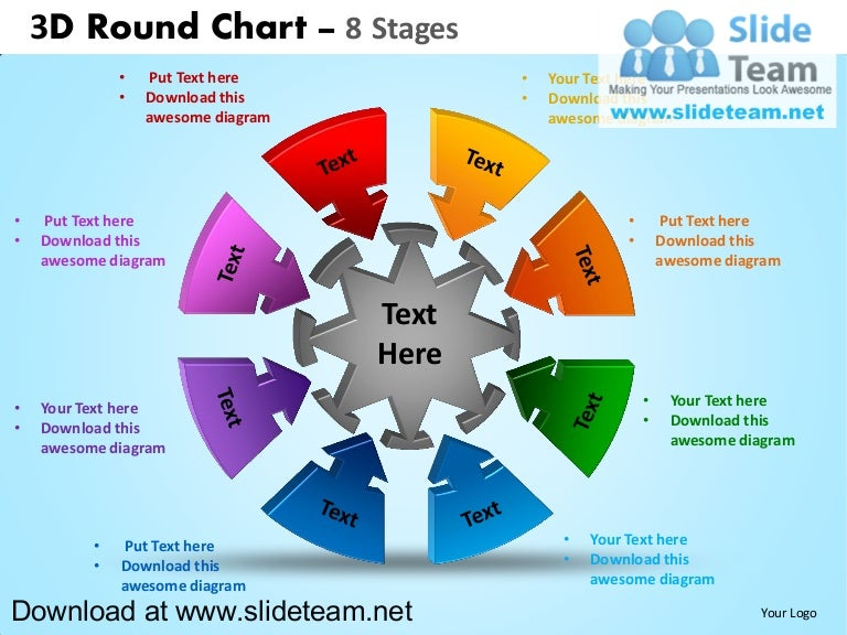 3 d interconnected circular puzzle pieces 8 stages powerpoint diagra – Smartart Powerpoint Template