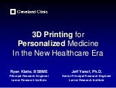 Learner Research - 3D Printing for Personalized Medicine