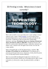 3D Printing in India - Where does it stand currently?