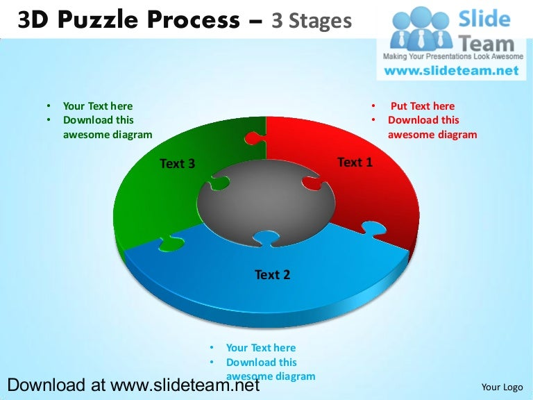 3 d puzzle pieces connected jigsaw 3 stages powerpoint diagrams and ccuart Choice Image