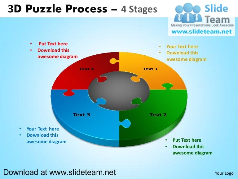 3 d puzzle pieces connected jigsaw 4 stages powerpoint diagrams and…, Modern powerpoint