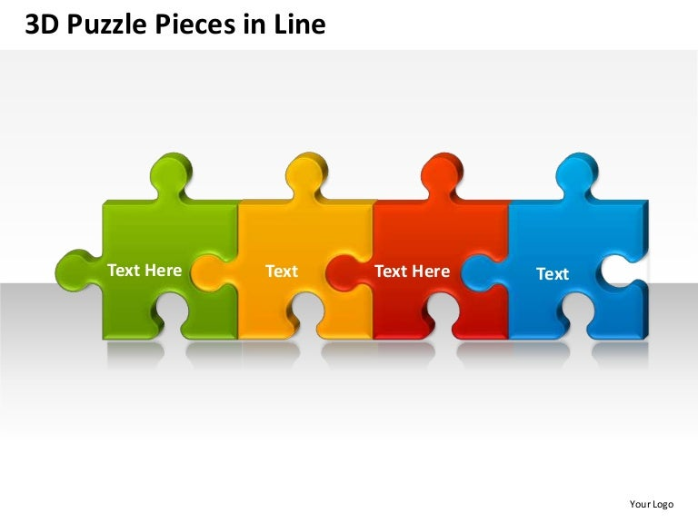 3D Puzzle Pieces In Line Powerpoint Presentation Templates