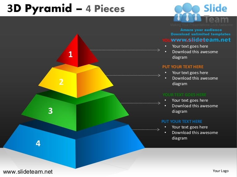 3d Pyramid Stacked Shapes Chart 4 Pieces Powerpoint Ppt Slides