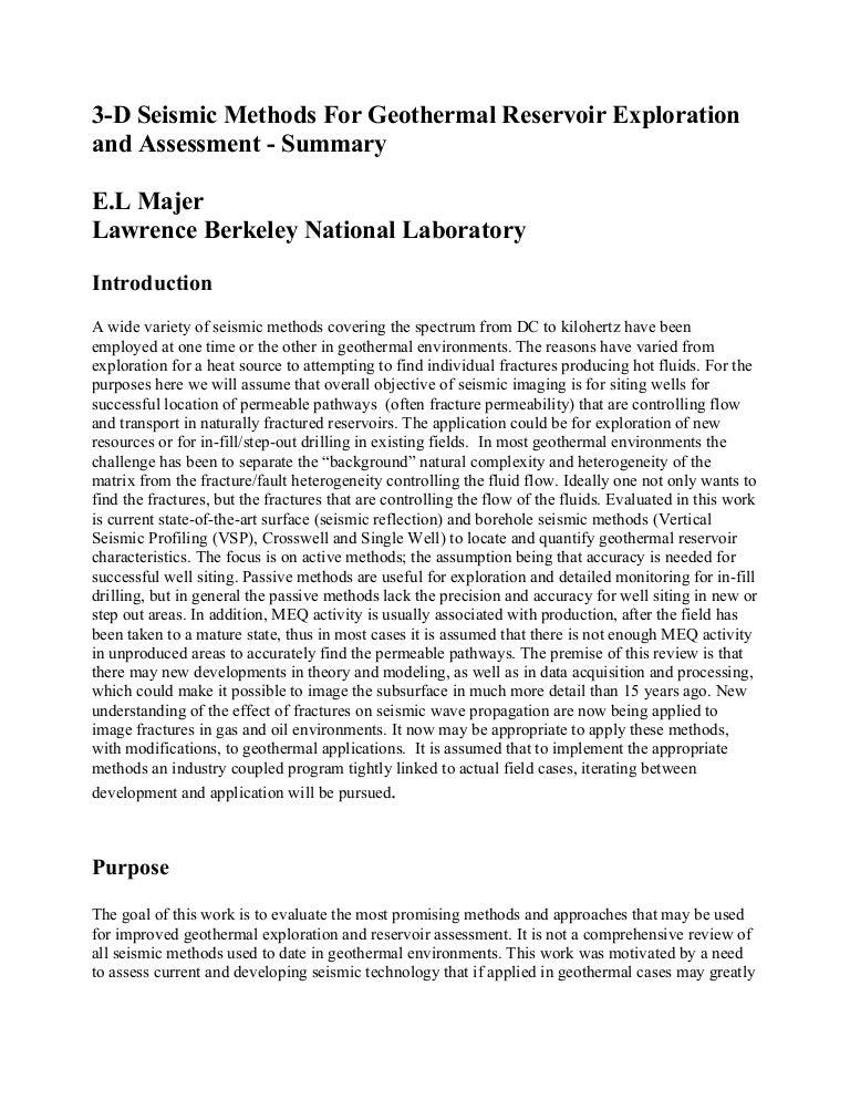 3 D Seismic Method For Reservoir Geothermal Exploration N