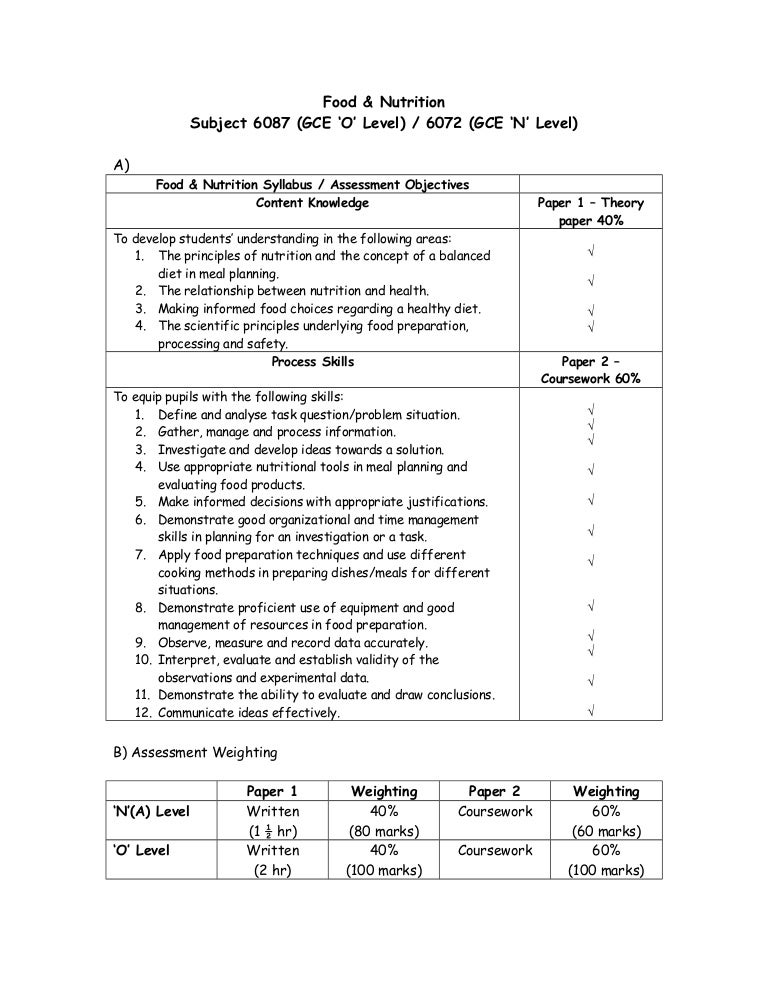 f&n o level coursework sample