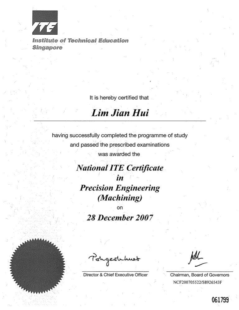 ITE certificate of merit