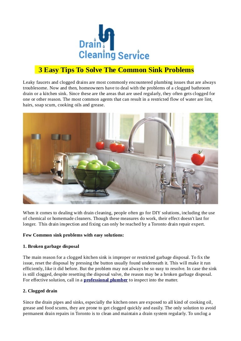 3 easy tips to solve the common sink problems