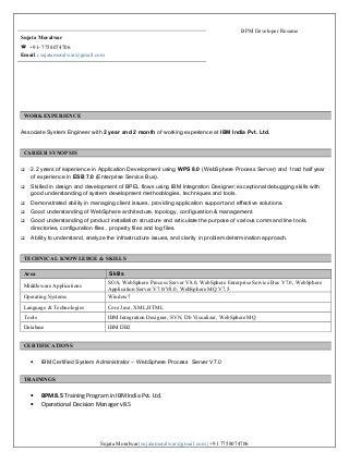 oracle bpm developer resume