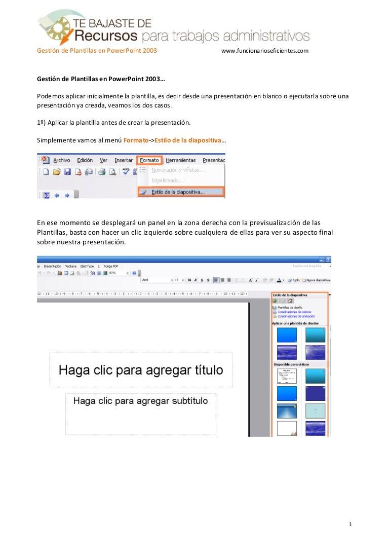 Como gestionar plantillas o temas en PowerPoint 2003 - Tutorial en Es…