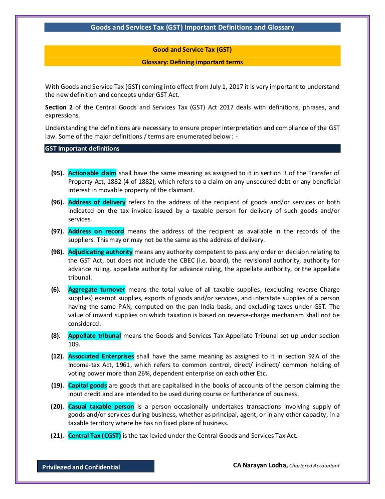 gst important definitions and glossary rh slideshare net