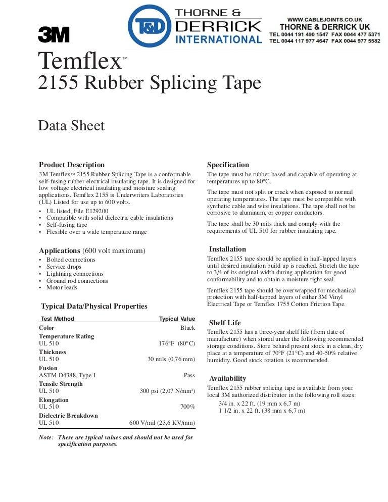 3M Temflex 2155 Rubber Splicing Tape - Rubber Vinyl