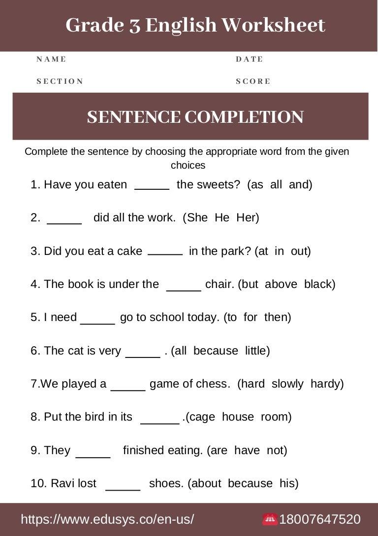 - 3rd Grade English Grammar Worksheet Free Pdf