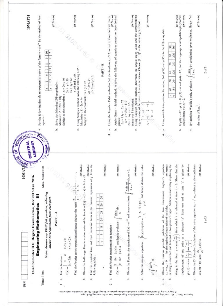 3rd Semester Dec Jan 2016 Civil Engineering Question Paper
