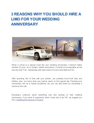3 reasons why you should hire a limo for your wedding anniversary