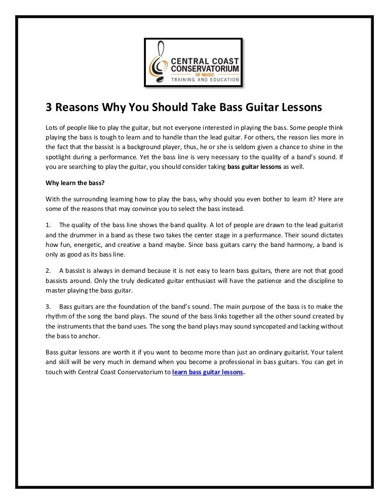 3 reasons why you should take bass guitar lessons