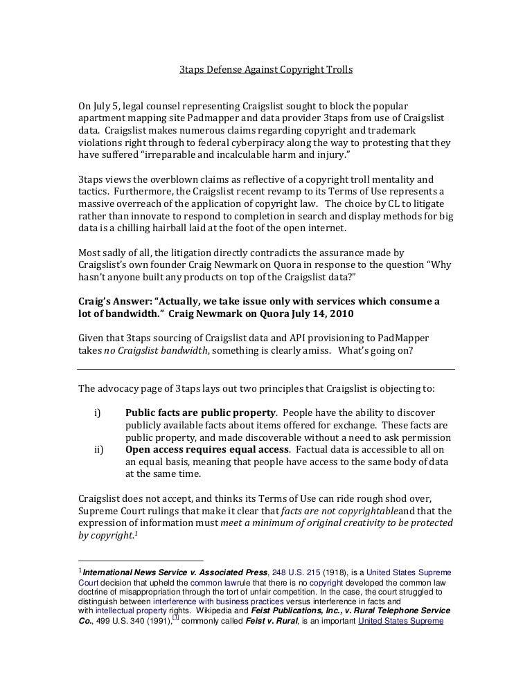 3Taps Defense Against Copyright Trolls