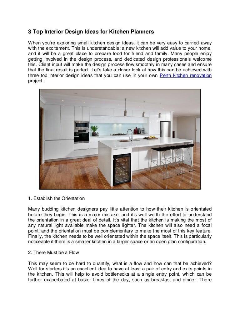 3 Top Interior Design Ideas For Kitchen Planners
