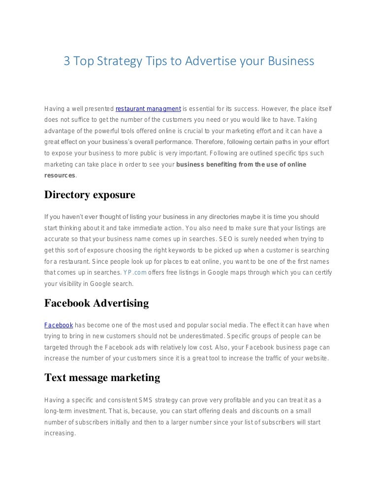3 top strategy tips to advertise your business