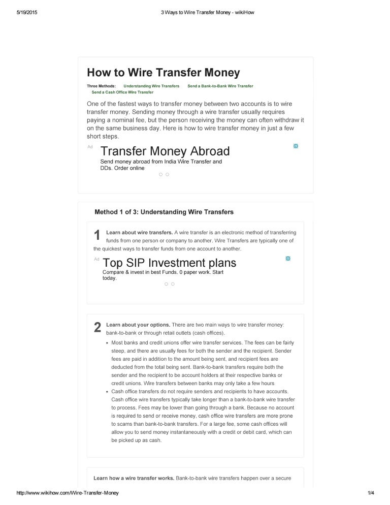 Astounding 3 Ways To Wire Transfer Money Wiki How Wiring Cloud Toolfoxcilixyz