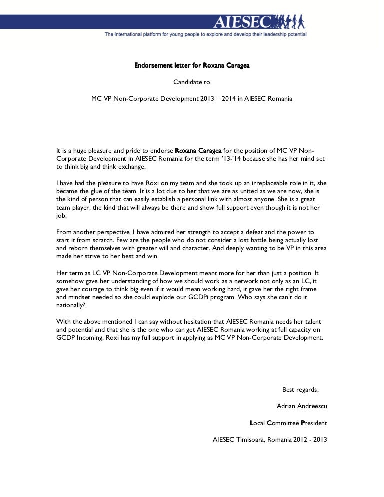 Endorsement Letter For Roxana Caragea   Adrian Andreescu