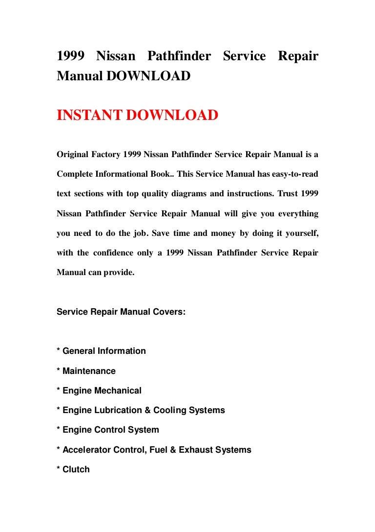 1999 Nissan Pathfinder Service Repair Manual Download 1990 Geo Tracker Engine Diagram Wiring Schematic