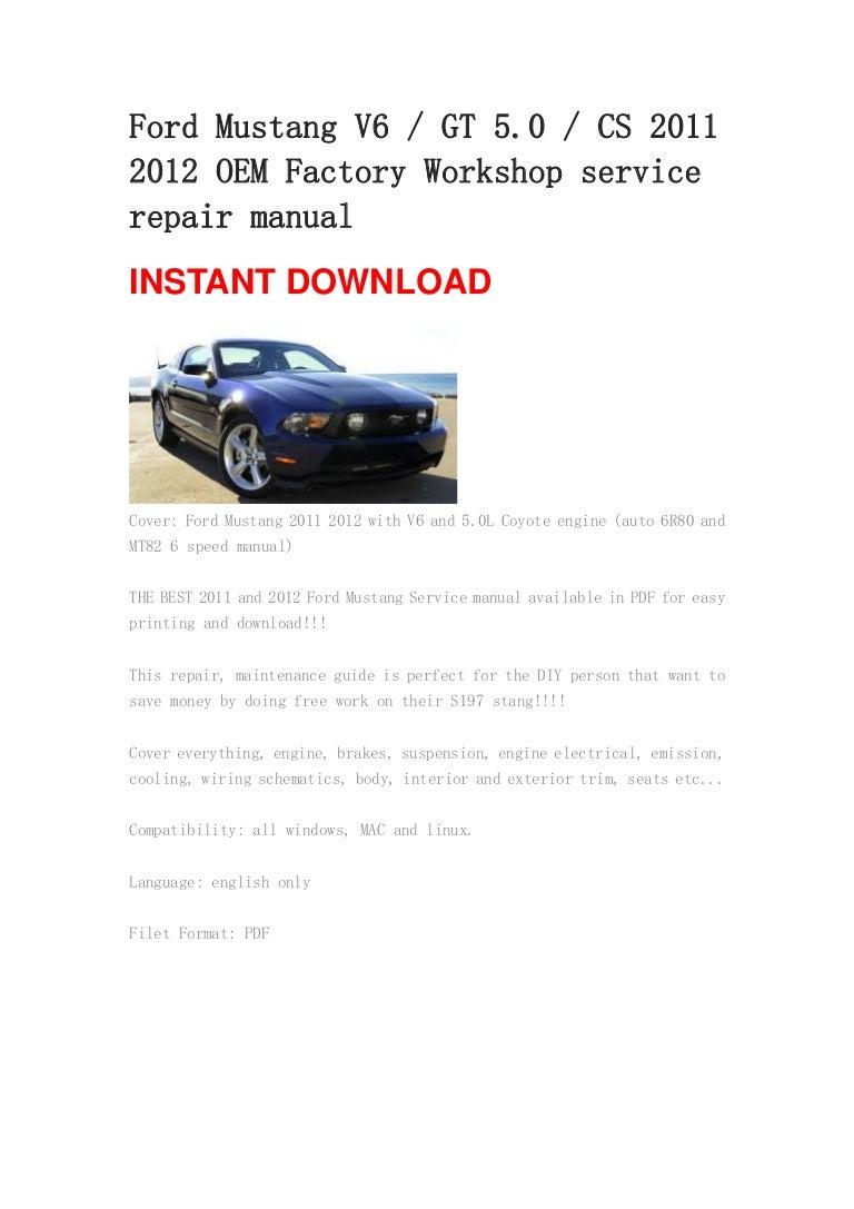 4 130501020214 phpapp02 thumbnail 4?cb=1367373770 ford mustang v6 gt 5 0 cs 2011 2012 oem manual 2011 Ford Mustang Wiring Diagram at panicattacktreatment.co