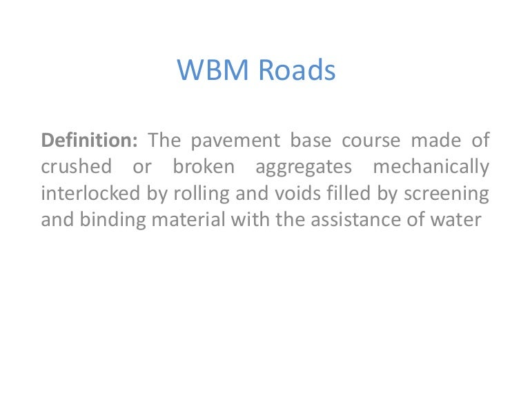 wbm roads sep