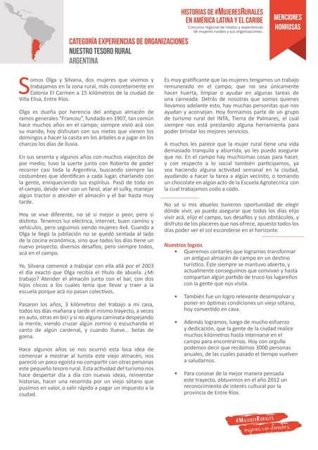 Menciones honrosas en la categoría de experiencias de organizaciones