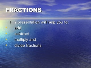 4 Rules of Fractions