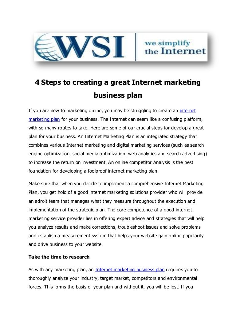 Creating a great internet marketing business plan