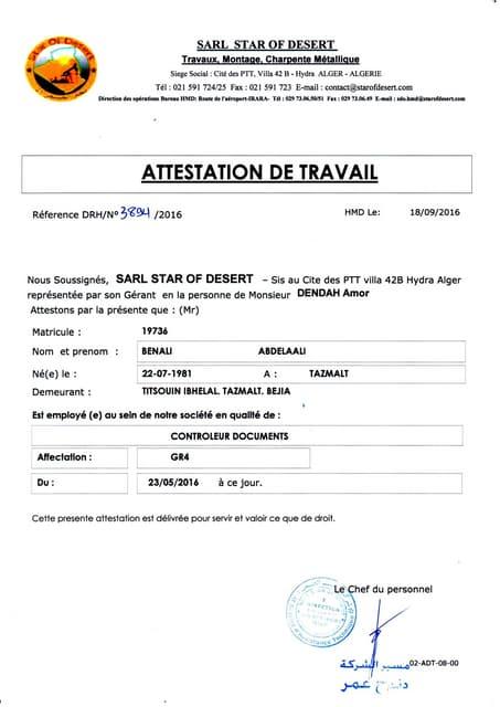 TRAVAIL CNAS ATTESTATION DE TÉLÉCHARGER