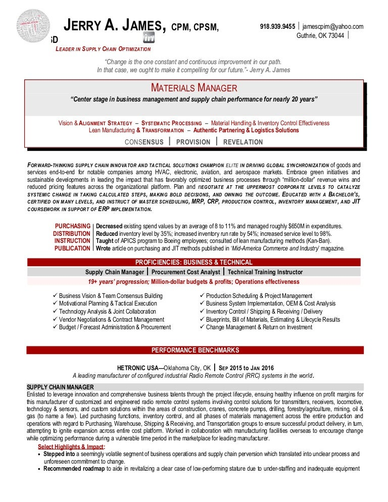 jerry james supply chain manager resume