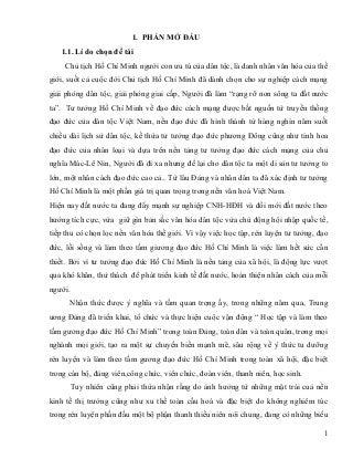 Sáng Kiến Kinh Nghiệm về việc lồng ghép giáo dục tư tuởng, đạo đức Hồ Chí Minh trong dạy học Lịch sử