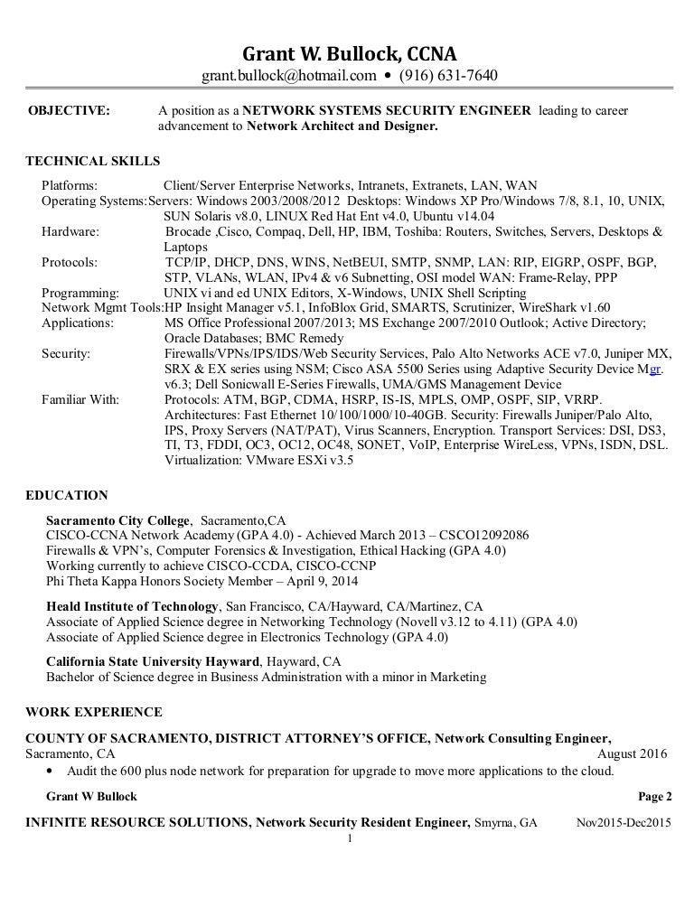 bullock grant7o_resume redo v17_01 09 2017 - Network Consulting Engineer