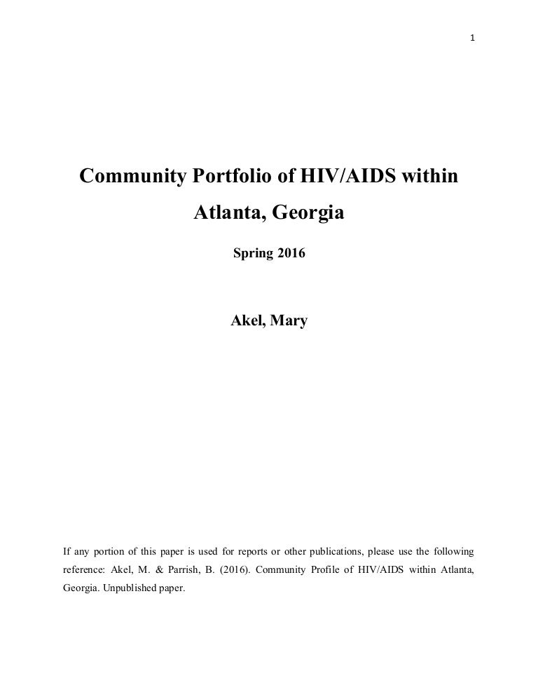 Community Profile Of HIV AIDS Within Atlanta Georgia
