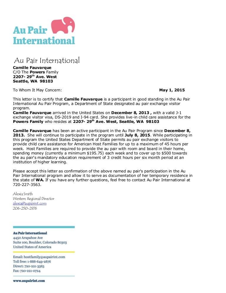 au pair international letter