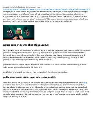 Mainkan Dewapoker Game Poker Online Di India Serta Menghasilkan Uang Online Jelas