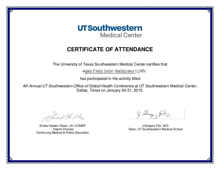Certificate Of Attendance - Global Health Conference-Signed
