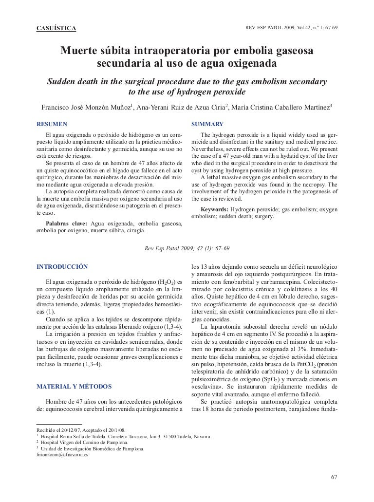Causa de embolia gaseosa