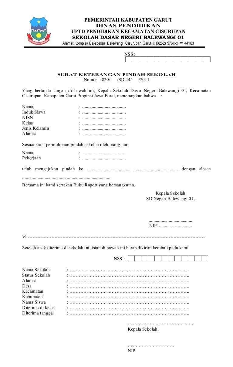 Contoh Surat Mutasi Smp